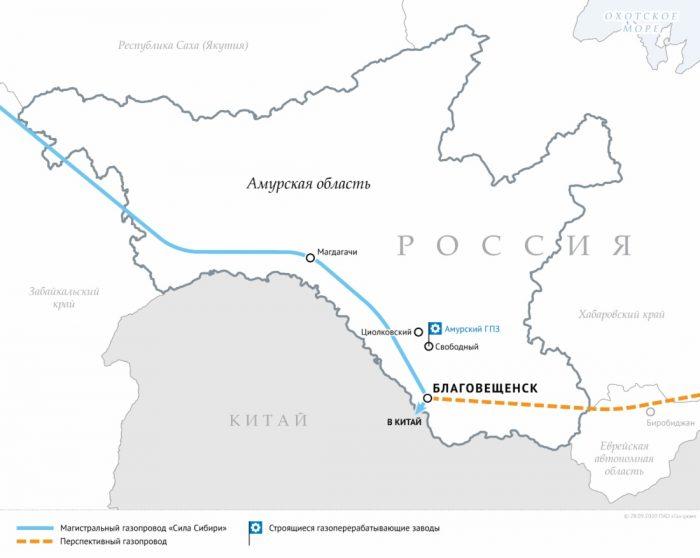 Схема магистральных газопроводов в Амурской области
